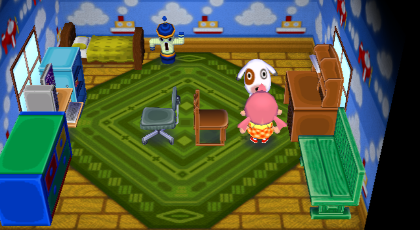 Interior of Bones's house in Animal Crossing: City Folk
