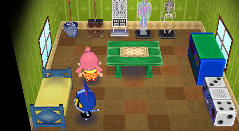 Interior of Moe's house in Animal Crossing: City Folk