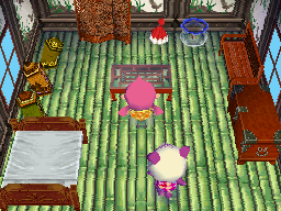 Interior of Pinky's house in Animal Crossing: Wild World