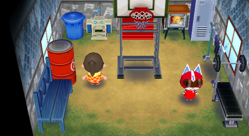 Interior of Kid Cat's house in Animal Crossing: City Folk