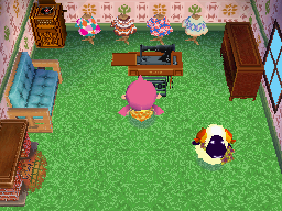 Interior of Vesta's house in Animal Crossing: Wild World