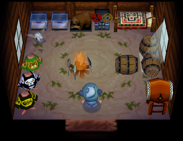 Interior of Grizzly's house in Animal Crossing