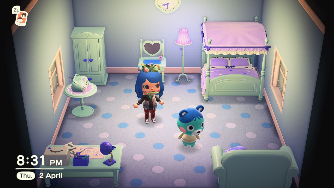 Interior of Bluebear's house in Animal Crossing: New Horizons
