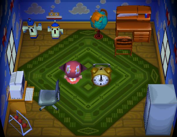 Interior of Bones's house in Animal Crossing