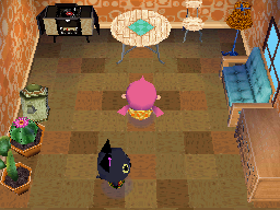 Interior of Kiki's house in Animal Crossing: Wild World