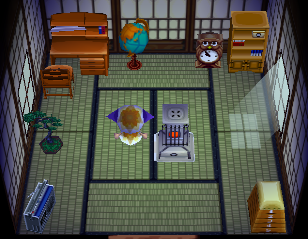 Interior of Hambo's house in Animal Crossing