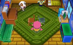 Interior of Bones's house in Animal Crossing: Wild World