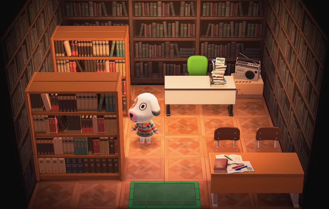 Interior of Bones's house in Animal Crossing: New Horizons