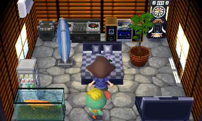 Interior of Quillson's house in Animal Crossing: New Leaf