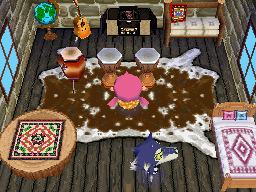 Interior of Lobo's house in Animal Crossing: Wild World