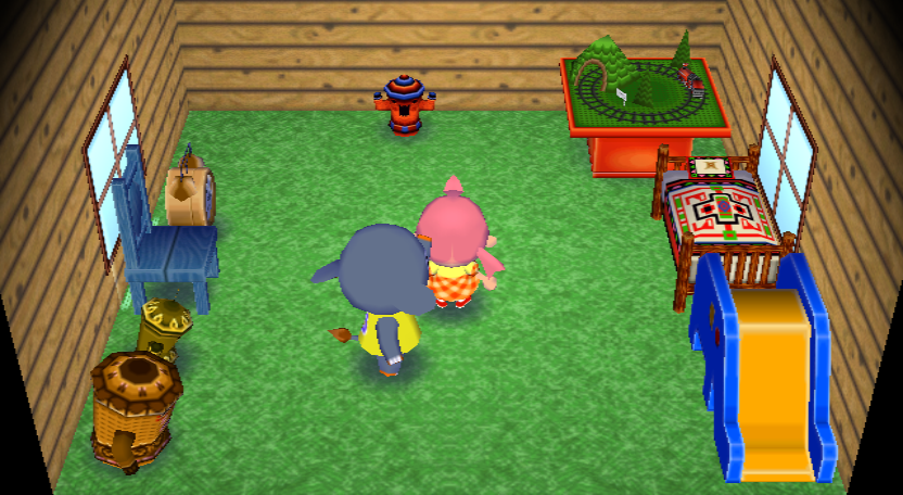 Interior of Dizzy's house in Animal Crossing: City Folk