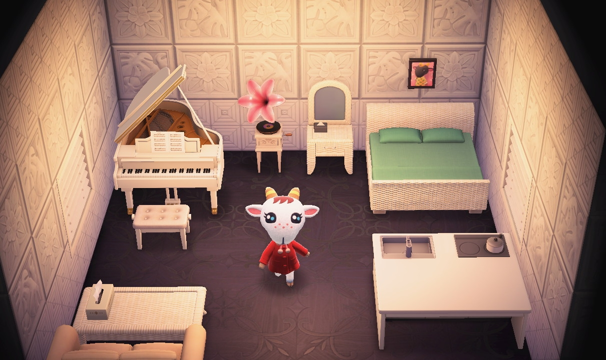 Interior of Chevre's house in Animal Crossing: New Horizons
