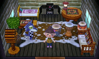 Interior of Lobo's house in Animal Crossing: New Leaf