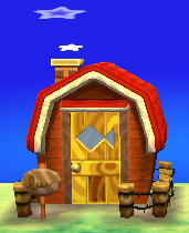 Exterior of Kid Cat's house in Animal Crossing: New Leaf