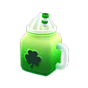 The Shamrock Doorplate, Shamrock Rug, and Shamrock Soda, all part of the Nook Shopping seasonal event in New Horizons