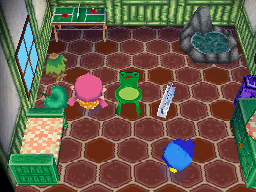 Interior of Jeremiah's house in Animal Crossing: Wild World
