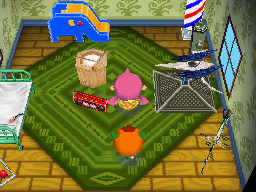 Interior of Pudge's house in Animal Crossing: Wild World