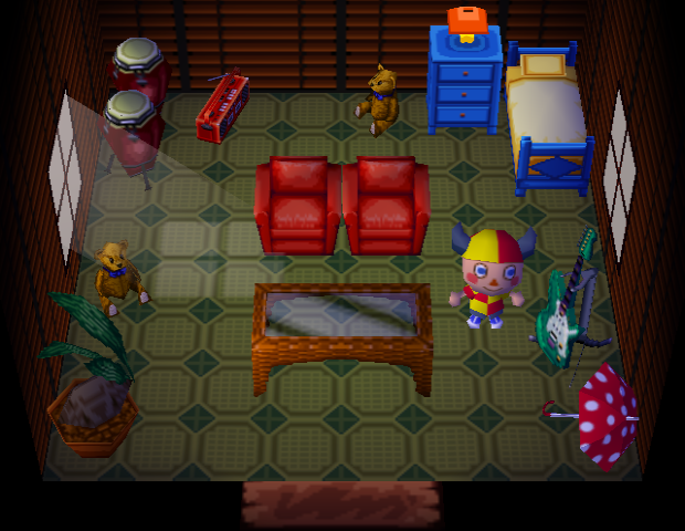 Interior of Bluebear's house in Animal Crossing