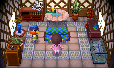 Interior of Robin's house in Animal Crossing: New Leaf