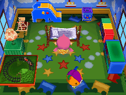 Interior of Stitches's house in Animal Crossing: Wild World