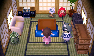 Interior of Curt's house in Animal Crossing: New Leaf