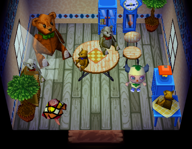 Interior of Mint's house in Animal Crossing