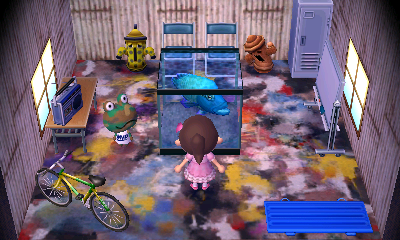 Interior of Camofrog's house in Animal Crossing: New Leaf