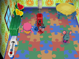 Interior of Samson's house in Animal Crossing: Wild World