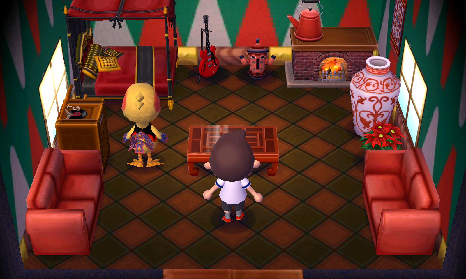 Interior of Phoebe's house in Animal Crossing: New Leaf