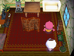 Interior of Lucy's house in Animal Crossing: Wild World