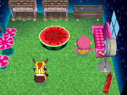 Interior of Victoria's house in Animal Crossing: Wild World