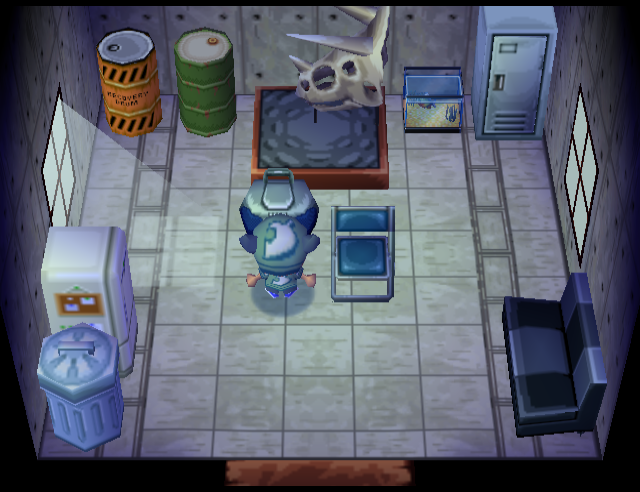 Interior of Camofrog's house in Animal Crossing
