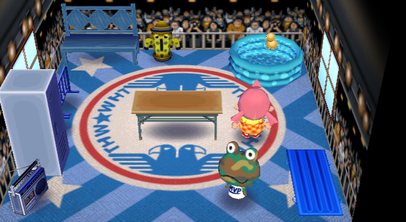 Interior of Camofrog's house in Animal Crossing: City Folk