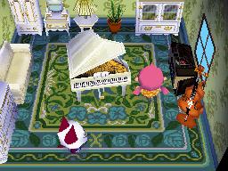 Interior of Olivia's house in Animal Crossing: Wild World