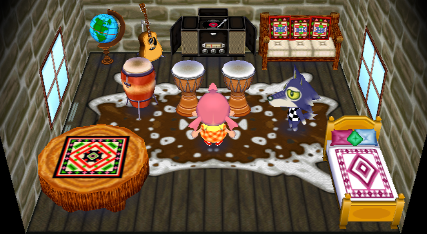Interior of Lobo's house in Animal Crossing: City Folk