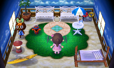 Interior of O'Hare's house in Animal Crossing: New Leaf