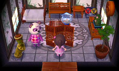 Interior of Pinky's house in Animal Crossing: New Leaf