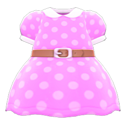 Belted Dotted Dress (Pink) NH Icon.png