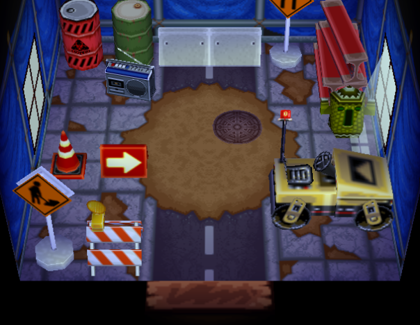Interior of Spike's house in Animal Crossing