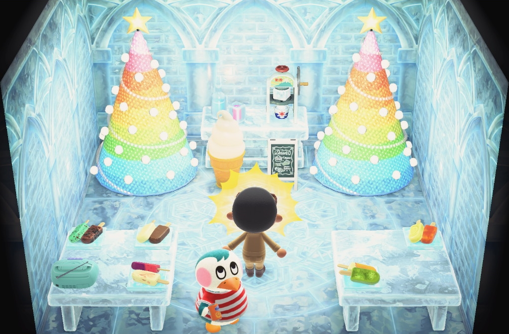 Interior of Iggly's house in Animal Crossing: New Horizons
