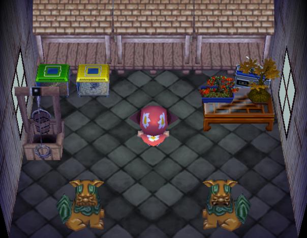 Interior of Rasher's house in Animal Crossing