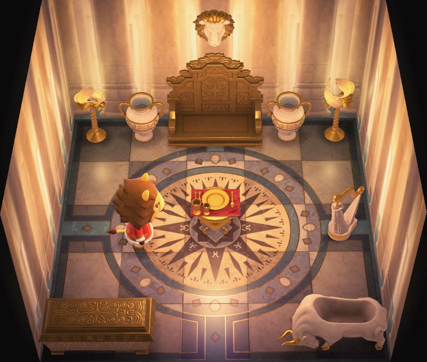 Interior of Elvis's house in Animal Crossing: New Horizons