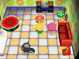 Interior of Blaire's house in Animal Crossing: Wild World