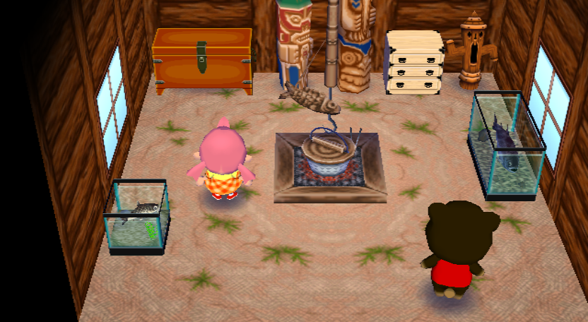 Interior of Grizzly's house in Animal Crossing: City Folk