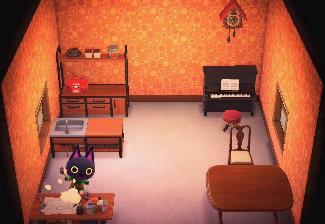 Interior of Kiki's house in Animal Crossing: New Horizons