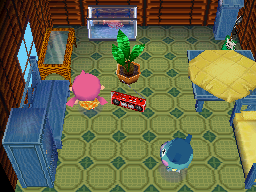 Interior of Bluebear's house in Animal Crossing: Wild World