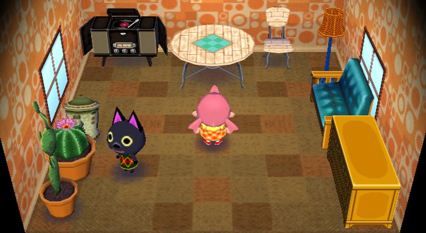 Interior of Kiki's house in Animal Crossing: City Folk