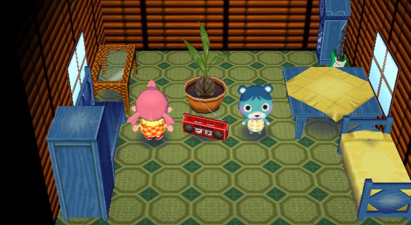 Interior of Bluebear's house in Animal Crossing: City Folk