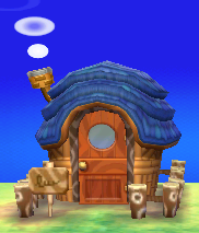 Exterior of Felyne's house in Animal Crossing: New Leaf