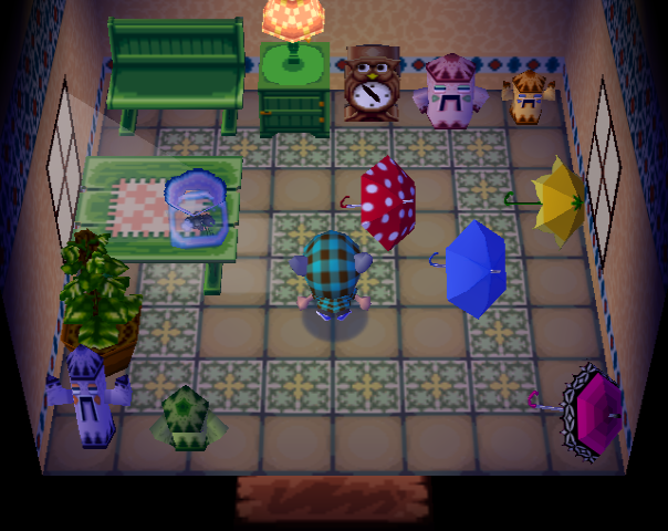 Interior of Emerald's house in Animal Crossing